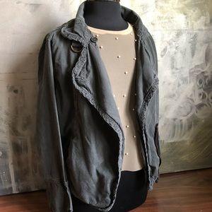 NSF gray washed cargo style utility jacket